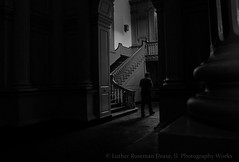 (Luther Roseman Dease, II) Tags: monochrome chiaroscuro skancheli lowkey noireetblanc negroyblancofotografie mood movement light shadows staircase humanelement bw shape public composition framing fineartphotography darkened angle blackandwhitephoto silhouette candid depth contrejour walking room tones impression alone fotografie photography lines patterns