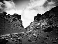 Montana del Cuervo (RadarO´Reilly) Tags: bw monochrome noiretblanc lanzarote sw blanconero rabenkrater volcano lava crater vulkan tinajo iphone hipsta hipstamatic landscape landschaft