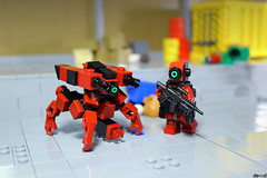 District 03 - Special Operator during controls with support drone DK-R1 (Devid VII) Tags: devid vii district special operator dark drone support military diorama scene details controls lego moc inspection minifig minifigs minifigures minifigure drones 03 red darkred