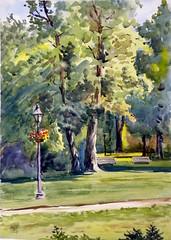 Rosetta McClain Garden 6, Plein Air, 2019-07-03 (light and shadow by pen) Tags: watercolor landscape park rosettamclaingarden art