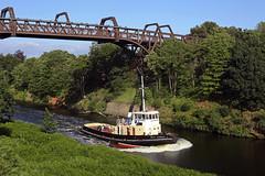 'MSC Viceroy' Cantilever Bridge 2nd July 2019 (John Eyres) Tags: carmettugcoltdmscviceroy1975passingunderthecantileverhighlevelbridge warrington020719 manchester ship canal carmet tug