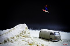 Snowboard jump (psychosteve-2) Tags: vw camper van snow boarder ramp jump macro small folk