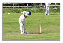 OUT! (johnhjic) Tags: johnhjic sport cricket north yorkshire ball wicket out grass player players stumps flying