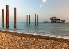 Still Standing (ivanstevensphotography) Tags: pier sea seaside beach pebble pebbles sunset canon canon80d pillar pillars rust brighton