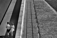 Lines, shadows and couple (Franck gallery) Tags: paris streetphoto couple noirblanc blackwhite quaisdeseine riverbank people