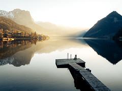Salzkammergut, Austria (marinaweishaupt) Tags: salzkammergut reflection sunlight sunrise mountains dog travel outdoors light