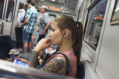 Foxy (Ktoine) Tags: tatoo tatooes girl fox drawing metro people candid light saintpetersburg russia arm thinking think fingers hand thought