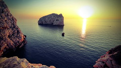 Yellow Sunset (endresárvári) Tags: holiday sardinia sun sunset yellow rock rocks sea mediterranean twilight summer light canon evening