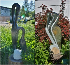 From Left to Right: Love Birds by Rumano with Opal Stone, and Love Birds by Uparty Majengwa with Opal Stone, Zimsculpt, Edwards Gardens, Toronto, ON (Snuffy) Tags: lovebirds rumano upartymajengwa opalstone zimsculpt zimsculpt2019 edwardsgardens torontobotanicalgarden northyork toronto ontario canada