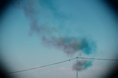 Glastonbury Festival 2019 (puppyhand) Tags: glasto glastonbury festival 19 2019 weekend worthy farm trail trails red white blue smoke smokey smoky cloud clouds cloudy sky skies fly flying over campsite camp site arrows plane planes jet jets overhead royal air force airforce