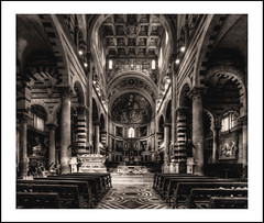 Duomo Pisa (Fr@ηk ) Tags: building church cathedral architecture arch monochrome art column brick indoors abbey city crypt aisle holyplaces photo room apse placeofworship white blackandwhite basilica black byzantinearchitecture bench painting old person clock altar medievalarchitecture gothlike stockphotography table arcade living housing front monastery travel sitting religion gothicarchitecture large ceiling symmetry pillar mrtungsten62 frnk europe italia pisa duomo bw artistimpression artprint hrgiger nol33z mg59