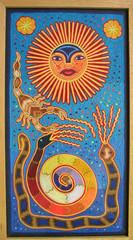 Wixarika Huichol Yarn Painting Mexico (Teyacapan) Tags: huichol wixarika art yarnpaintings mexico artesanias sun snakes scorpion