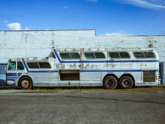 (el zopilote) Tags: street greyhound bus architecture clouds oregon haines wheels powerlines storefronts townscape generalmotors easternoregon scenicruiser pd4501 signs lumix smalltowns m43 gf1 milc lumixg20mmf17asph 500