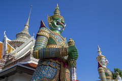Double Giant at Wat Arunwararam, Bangkok, Thailand (onion407) Tags: bangkok thailand grand thai travel temple culture asia double couple giant art ancient buddha architecture history religion asian place buddhism tourism famous building sky cloud outdoor gate door tree garden