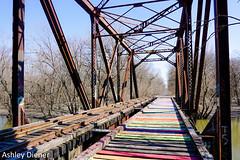 Rainbow Road (ashleydiener) Tags: desplainesriver bridge rainbowbridge bridges abandoned abandonedbridge
