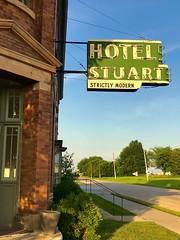 Strictly modern (Lights in my hometown) Tags: stuart adaircounty iowa old hotel vintage neon sign roadside whitepoleroad highway us6 ©sharidayton