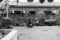 No bicycle (Go-tea 郭天) Tags: pékin républiquepopulairedechine beijing hutong narrow alley old ancient history historical historic tradition traditional pavement electric electricity lines bikes bicycles motorbikes mortorcycles 2 together alone lonely walk walking family young child boy grandchild grandson grandma grandmother granny woman love bag plastic sun sunny shadow cold winter cny street urban city outside outdoor people candid bw bnw black white blackwhite blackandwhite monochrome naturallight natural light asia asian china chinese canon eos 100d 24mm prime construction building hat