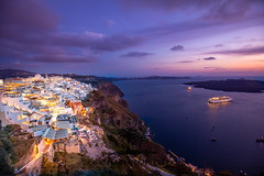 Sunset colors (icemanphotos) Tags: santorini sunset caldera windmill greek hotel volcano honeymoon cyclades romantic sun colors dramatic dusk getaway lights steps stunning clouds cloudy light magenta night ocean picturesque ships sunrise vacations