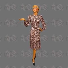 1930s 1940s Devoré Silk Satin Semi Sheer Day Dress with Balloon Sleeves (Rickenbackerglory.) Tags: vintage 1930s 1940s siegel mannequin devore silk sartin semisheer daydress balloonsleeves