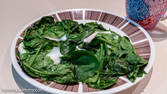 Thursday happiness. Wilted spinach leaves and steamed eggs. (garydlum) Tags: eggs spinach spinachleaves steamedeggs brisbane queensland australia