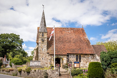 St.Peters church (Jez22) Tags: jeremysage photography copyright church stpeters newenden kent parish village building architecture sky clouds steps flag christian churchofengland clock tower medieval