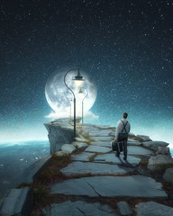 LIGHT STEPS (@phanttoni) Tags: phanttoni anttoni salminen photoshop photo manipulation edit imagination high path space galaxy moon beautiful road quiet silent