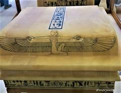 Lid of the shrine (Merja Attia) Tags: alabasterlids gildedwood shrine alabaster containerforcanopicvases tutankhamon treasureroom kv62 frieze uraeusserpent sundisk fourgoddesses isis nephthys neith selket ancientart ancientegypt egyptianmuseum cairo egypt