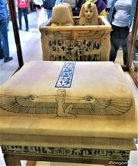 Container for Canopic Vases (Merja Attia) Tags: alabasterlids gildedwood shrine alabaster containerforcanopicvases tutankhamon treasureroom kv62 frieze uraeusserpent sundisk fourgoddesses isis nephthys neith selket ancientart ancientegypt egyptianmuseum cairo egypt