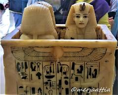 Alabaster shrine (Merja Attia) Tags: alabasterlids gildedwood shrine alabaster containerforcanopicvases tutankhamon treasureroom kv62 frieze uraeusserpent sundisk fourgoddesses isis nephthys neith selket ancientart ancientegypt egyptianmuseum cairo egypt