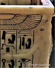 Relief of Isis on the corner of the shrine (Merja Attia) Tags: alabasterlids gildedwood shrine alabaster containerforcanopicvases tutankhamon treasureroom kv62 frieze uraeusserpent sundisk fourgoddesses isis nephthys neith selket ancientart ancientegypt egyptianmuseum cairo egypt