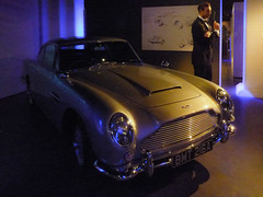 The Bond Car (Steve Taylor (Photography)) Tags: mannequin mauve gold man uk gb england greatbritain unitedkingdom london car astonmartindb5 bondinmotionjamesbondexhibition bowtie dinnersuit goldfinger jamesbond londonfilmmuseum silencer