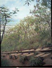 Kokohead Stairs (Shirley Lam Images) Tags: fujifilmga645zi kodakektar100 ektar100 film 120film mediumformat buyfilmnotmegapixels honoluluhawaii oahu kokoheadstairs kokoheadhike