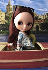 """BaD """"River"""" July 4, 2019 (Foxy Belle) Tags: doll blythe july 4 2019 bad river boat bohemian peach camera bag stock sunglasses tourist summer vacation brunette brown eyes 16 scale playscale calendar background diorama"""