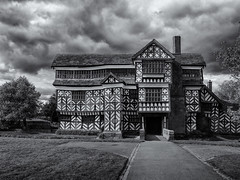 Tudor manor. Explored. (Tim Ravenscroft) Tags: tudor manor timberframed littlemoretonhall cheshire england architecture monochrome blackandwhite blackwhite hasselblad hasselbladx1d