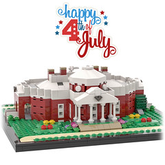Thomas Jefferson's Monticello (Front 2) (BenBuildsLego) Tags: thomas jefferson 4th july declaration independence america american usa beautiful house home neoclassical classical architecture founding father history historical lego legos afol bricks brick 3d render bricklink studio micro microscale scale