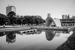 Hiroshima - Peace Memorial Park (-dow-) Tags: giappone hiroshima japan 広島 日本 peacememorialpark reflections monochrome fujifilm x70