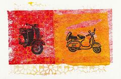 Vespa Duo (lwdphoto) Tags: lance duffin lancewadeduffin lanceduffin monoprint acrylic miniprint vespa scooter blockprint print printmaking ink art linocut gelliplate gelli gelliprint