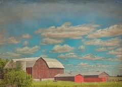 Farmland around Little Britain, Ontario (Sally E J Hunter) Tags: ontario barn redbarn farmland fields rural littlebritain sky clouds canada