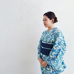 "Tokyozome Yukata ""Flower Sky Pond Star"" by Kataume x Mayako Nakamura (Photo by Naomi Sakamoto)"