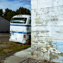(el zopilote) Tags: haines oregon easternoregon street architecture townscape wheels bus greyhound scenicruiser pd4501 generalmotors clouds storefronts powerlines signs smalltowns lumix gf1 milc m43 lumixg20mmf17asph