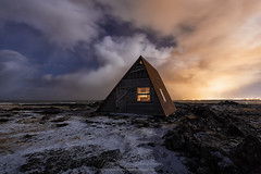 Triangular House (tsanchezruiz) Tags: iceland auroraboreal clouds northernlights sky house nightscape longexposure nightshot nightphotography nightlife islandia snow largaexposición fotografíanocturna