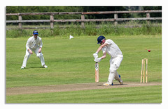 One more OUT. (johnhjic) Tags: johnhjic play cricket bat batsman ball fielder feild boundary north yorkshire out oops helmet gloves pads wicket stumps flying