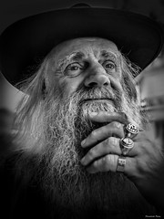 """""""Legendary Lonnie"""" (Pensioner Percy, very slow at the moment) Tags: d750 cockermouth nikon bw legendarylonnie cumbria rings character portrait rocker rockamdroll lonniecookeband lonniecooke hank you flicker friend blackandwhite"""