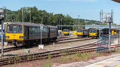 Class 143s - Exeter TMD (Kev's Railway Pix) Tags: 143603 143618 143619 143621 150243 dmu devon england exeter exeterstdavids gwr greatwesternrailway pacer sprinter class143 class150 railway railwaystation train transport rail tmd
