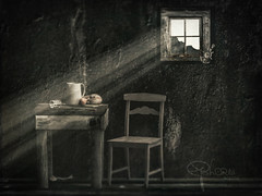 waiting (Ephorea) Tags: socialism ddr gdr lonelyness waiting poverty time childhood window light beam fish food water wall wood table bread past aspiration night twilight black ephorea ray gloom obscurity eclipse