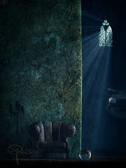 hazel's whisper (Ephorea) Tags: old color subconscious green blue purple treshold magic magick transformation journey light decoration otherworld transcience stairs raven crow skull beam castle wall moss ancient tale fairytale ascent descent aurumaurorum aurum aurorum night twilight black ephorea ray gloom obscurity eclipse