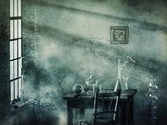 in Ladons Odem (Ephorea) Tags: alchemy dragon snake philosophersstone light beam smoke fog ascent glass reflection laboratory room vitriol lion industrial study interior decoration wall color alchemist enlightment aurumaurorum aurorum aurum typhon tartarus tartaros hades odem breath ladon lily green blue urban ephorea