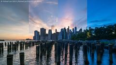 Brooklyn Bridge Park Time Lapse Photo (20190609-DSC05457-Edit) (Michael.Lee.Pics.NYC) Tags: newyork brooklyn brooklynbridgepark pier1 pilings posts eastriver sunset twilight night lowermanhattan wtc worldtradecenter architecture cityscape sony a7rm2 laowa12mmf28 magicshiftconverter composite