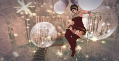 Tired Of Climbing (likethewaves) Tags: sl secondlife vr virtual 3d mesh fashion fashions fashionable style styling stylish stylist photo photograph photography photographer red gold dreamlike dream dreamy chandelier bubble bubbles ladder sparkles eliavah