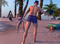 Racquetball... (ThiegoFire) Tags: couple love fun beach maitreya catwa sl photo photography photoshop blue sky summer racquetball sun signature